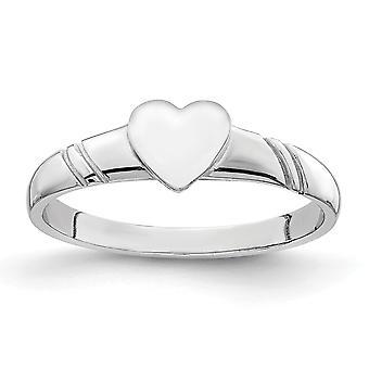 14k White Polished Love Heart voor jongens of meisjes Ring Size 4 - 1,3 Gram