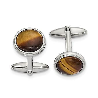 19.13mm Stainless Steel Polished Tigers Eye Cuff Links Jewelry Gifts for Men