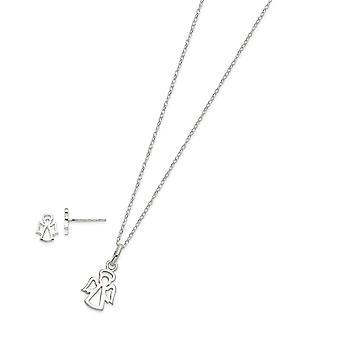 925 מלאכים שומרי כסוף שטרלינג 18 אינץ שרשרת לכתוב עגילים סט תכשיטים מתנות לנשים