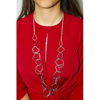 Interlocking Shapes Necklace - Silver 90cm