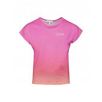 Chloe Childrenswear Sunset Dip Dye camiseta con logotipo