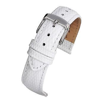 Lizard grain calf leather watch strap white