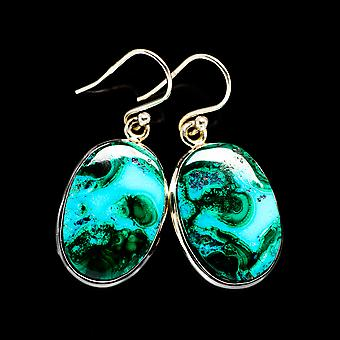 Malachite In Chrysocolla 925 Sterling Silver Earrings 1 3/8