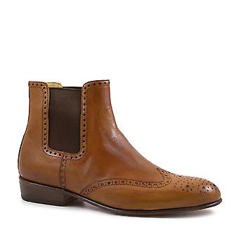 Women's brogue ankle boots handmade tan leather