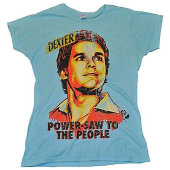 T-shirt féminin bleu de pouvoir de Dexter