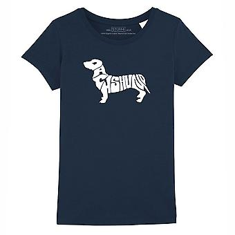 STUFF4 Girl's Round Neck T-Shirt/Dog Love / Dachshund/Navy Blue