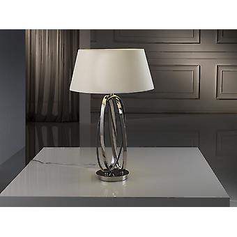 Schuller Ovalos - Table lamp of 1 light, made of metal, polished nickel finish. G plug type (UK). Conic shade of 6 cm, made with fabric in off-white colour. - 316451UK
