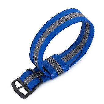 Strapcode n.a.t.o watch strap 20mm miltat raf n7 nato watch strap, navy blue and grey, pvd black ladder lock slider buckle