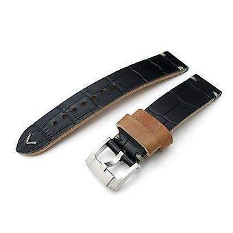 כתפיות התנינים שעון לצפות רצועה 20mm מילתאת antipode שעון רצועה מאט שחור crococalf בתפרים ביד אפור