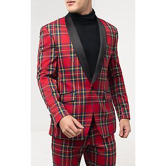 دوبل مينز الأحمر الترتان البدلة الرسمية سترة العادية صالح النقيض شال لابيل