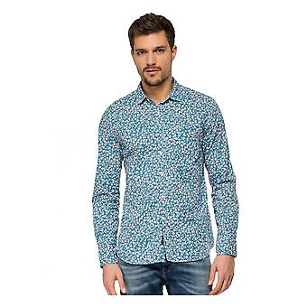 Replay Jeans Replay Floral Printed Shirt Blue