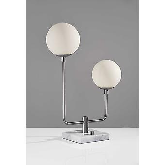 "15"" X 6.5"" X 21.5"" Brushed Steel Glass/Metal Table Lamp"
