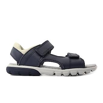 Clarks Rocco Wave Junior Navy Leather Boys Rip Tape Sandals