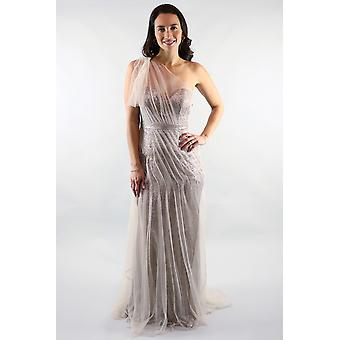 Gloria one shoulder mesh sequin gold gown