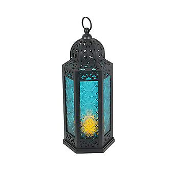 Antiqued Bronze Moroccan Style Colored Glass Hangable Candle Lantern