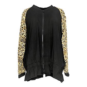 Belle By Kim Gravel Women's Plus Triple Luxe Mixed Jacket Black A367275