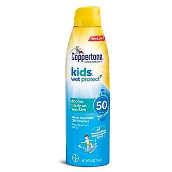 Coppertone kids sunscreen wet protect spray, spf 50, 5.5 oz