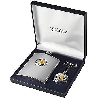 Woodford Shamrock 6oz Hip Flask and Pocket Watch Set - Silver