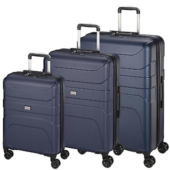 d&n Línea de viaje 2100 Suitcase Set 3 piezas 4 ruedas S-M-L, Azul