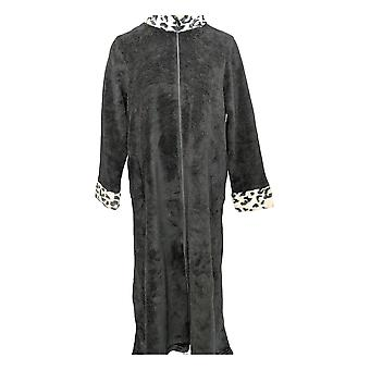 Stan Herman Women's Robe w/ Full Zipper & Pockets Black A368216