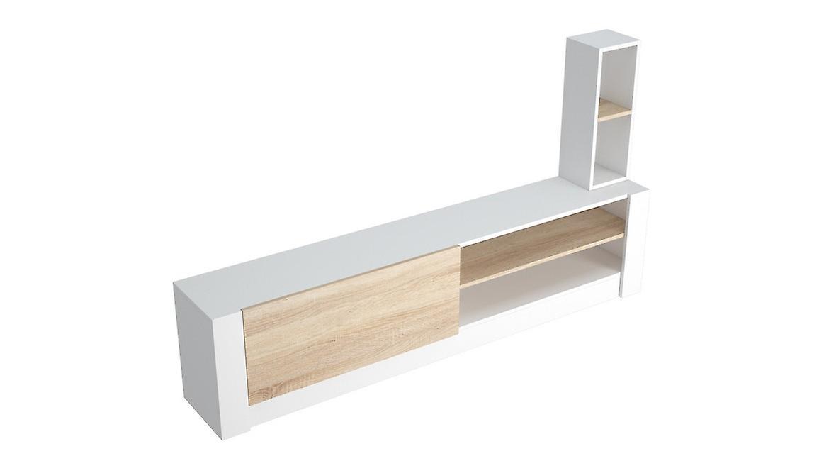 Porte tv mobile Gomez Color White, Sonoma in Melaminic Chip 180x30x43 cm, 20x20x55 cm