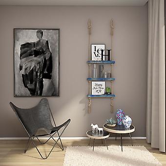 Halatli Shelf Color Azul, Madera Ecru, Juta, L50xP9xA125 cm