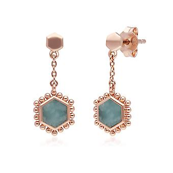 Amazonit flache Scheibe Hex Tropfen Ohrringe in Rose vergoldet Sterling Silber 271E020605925