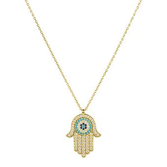 Hamsa Hand with Evil Eye Pendant Necklace Gold Gemstone Charm Chain Silver 925