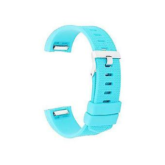 Watch strap for fitbit charge turquoise silicone rubber sizes small and large