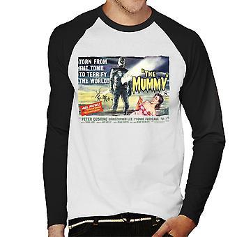 Hammer Horror Films mummia strappata da Gli uomini della tomba's Baseball T-Shirt a maniche lunghe