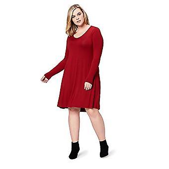 Marke - tägliche Ritual Frauen's Plus Size Jersey Langarm V-Ausschnitt Kleid, 2x, tiefrot