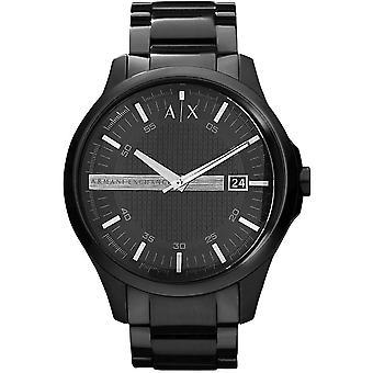 Armani Exchange Mens 'Hampton' Round Black Dial Black Bracelet Watch AX2104