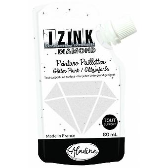 Aladine Izink Diamond Glitter Paint White 80ml.