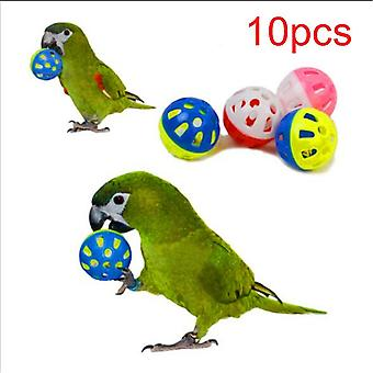 Pet Parrot Toy Colorful Hollow Rolling Bell Ball Bird, Parrot Chew Cage Fun