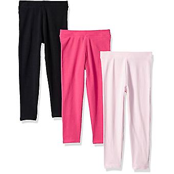 Essentials Big Girls' 3-Pack Leggings, Pink/Raspberry/Black, L (10)
