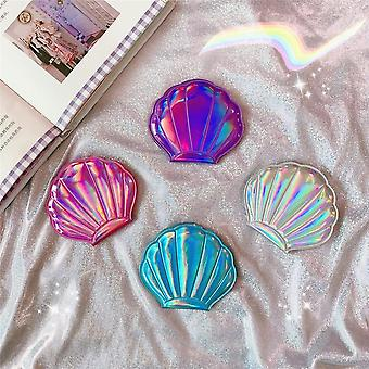 1pc Shell Shape Makeup Mirror - 2x Magnifying Mirror Laser Color For Double Sides Pocket Mirror Portable Foldable