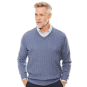 Chums Cashmere Like V Neck Cable Sweater