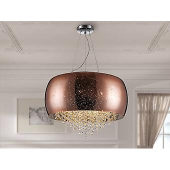 6 Light Crystal Cylindrical Ceiling Pendant Copper, G9