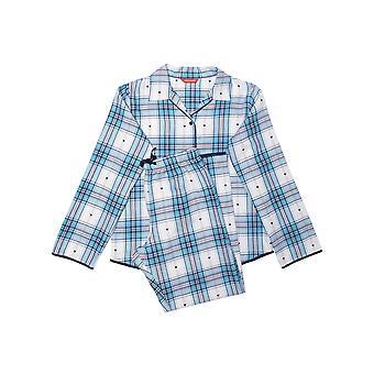 Minijammies Stella 5669 Girl's White Mix Heart Dobby Check Pyjama Set