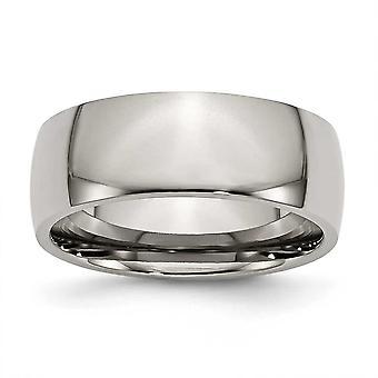 Titanium Half Round Graveerbare 8mm Gepolijste Band Ring Sieraden Geschenken voor vrouwen - Ring Size: 6 tot 16