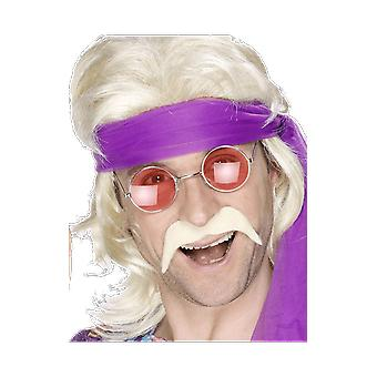 Mens 70s Groovy Blonde Moustache Fancy Dress Costume Accessory