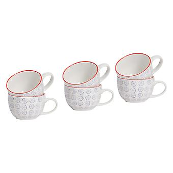 Nicola Spring Patterned Vintage Style Tea Cups, Cappuccino, Coffee - Purple Sun Swirl Design, 250ml - Set of 6
