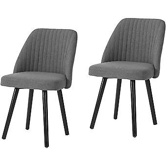 SoBuy FST84-HGx2,Set of 2 Dining Chairs Fabric Upholstered Seat Backrest & Beech Wood Legs