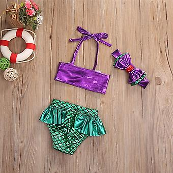 Baby Kids Mermaid Bikini Set- Summer Beach Swimwear, Swimsuit Bathing Suit