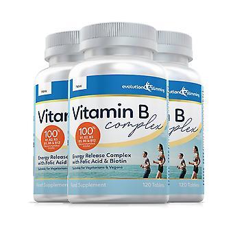 Vitamin B Complex Tablets, 100% RDA, Suitable for Vegetarians and Vegans - 360 Tablets - Antioxidant - Evolution Slimming