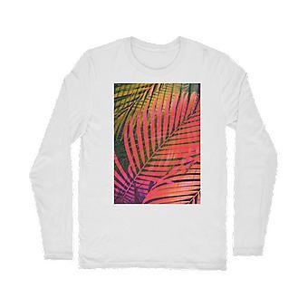 Foglie tropicali colorate no4 classico t-shirt a maniche lunghe