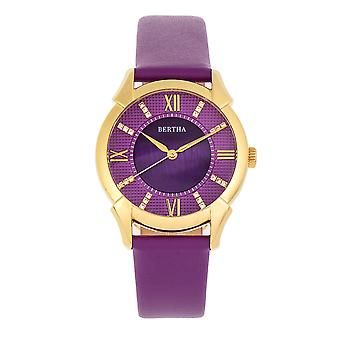 Bertha Ida Mother-of-Pearl Leather-Band Watch - Purple