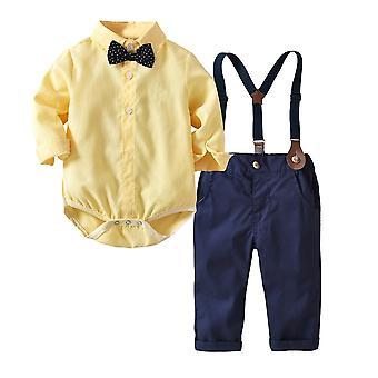 Frühling & Herbst Baby Boy - Shirt mit Fliege + gestreift, Weste + Hose, Kleidung Set