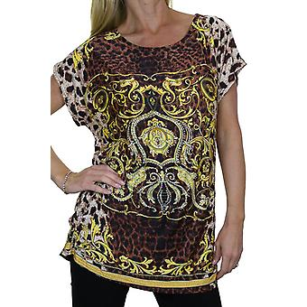 Femmes-apos;s Diamante Animal Print Tunique Top Ladies Loose Leopard Pattern Short Sleeve Day Casual T Shirt 8-16
