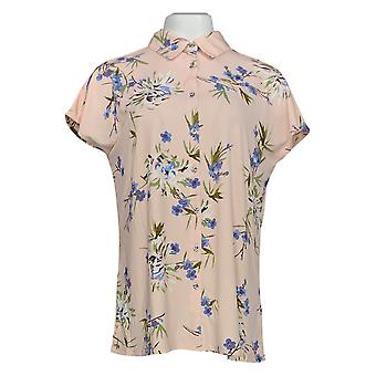 H by Halston Women's Top Extended Shoulder Button Front Tunic Pink A353767